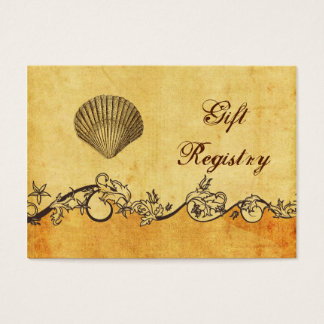 rustic, vintage ,seashell  beach Gift registry Business Card