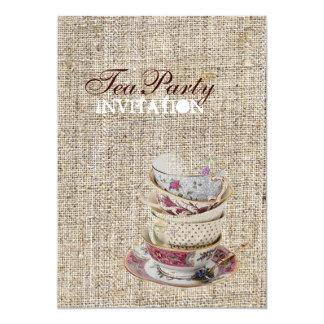 Rustic vintage stamps burlap country Tea Party 13 Cm X 18 Cm Invitation Card