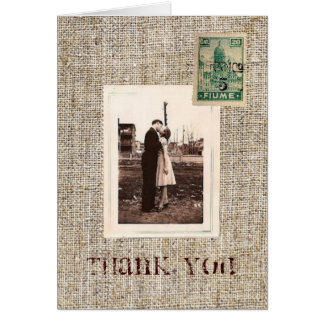Rustic vintage stamps burlap country Thank you Note Card