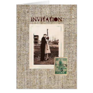 Rustic vintage stamps burlap country Wedding Card