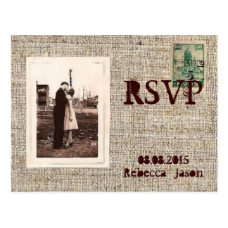 Rustic vintage stamps burlap country Wedding RSVP Postcard