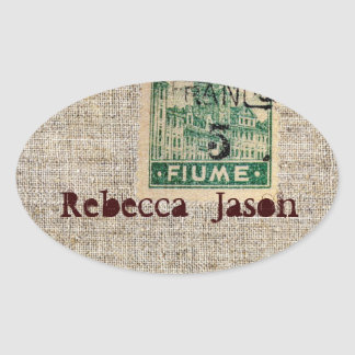 Rustic  vintage stamps burlap country Wedding Oval Sticker