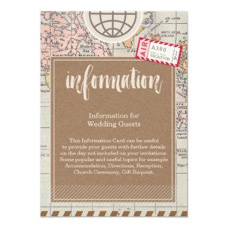 Rustic vintage travel Wedding Information Card