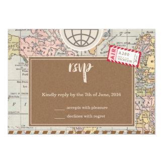 Rustic vintage travel Wedding RSVP Card