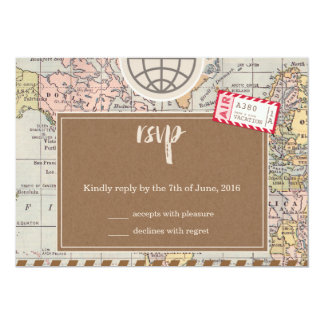 Rustic vintage travel Wedding RSVP Card 13 Cm X 18 Cm Invitation Card