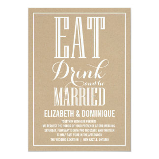 Rustic Vintage Typography Wedding Invitation
