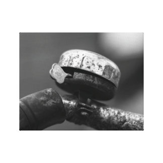 rustic vintage urbex bicycle bell black and white canvas print