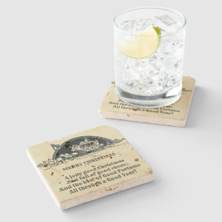 Rustic Vintage Victorian Stagecoach Christmas Old Stone Coaster