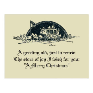 Rustic Vintage Victorian Stagecoach Christmas Postcard