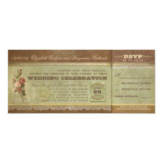 Rustic vintage wedding tickets with RSVP 10 Cm X 24 Cm Invitation Card