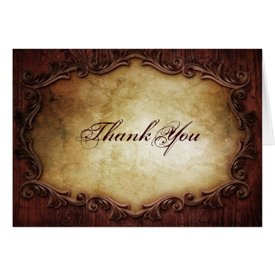 rustic vintage western country wedding thank you card