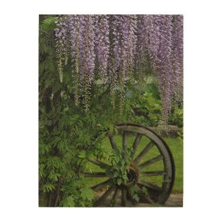 Rustic Vintage Wheel and Wisteria Wood Wall Art Wood Prints
