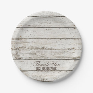 rustic vintage white barn wood barn wedding favor 7 inch paper plate