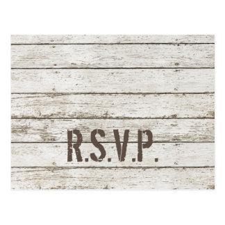 rustic vintage white barn wood barn wedding RSVP Post Card