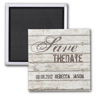 rustic vintage white barn wood  save the date fridge magnets