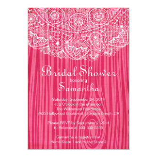 Rustic Vintage Wood Lace Bridal Shower Invitation