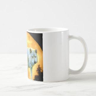 rustic vintage woodland moonlight wolf basic white mug