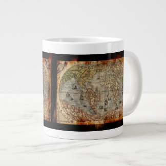 Rustic Vintage World Map Jumbo Soup Mug Jumbo Mug