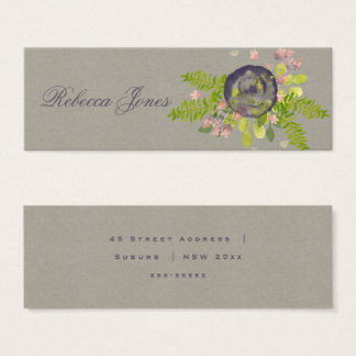 RUSTIC VIOLET YELLOW WILD FLOWERS & FERNS ADDRESS MINI BUSINESS CARD