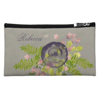 RUSTIC VIOLET YELLOW WILD FLOWERS & FERNS MONOGRAM COSMETICS BAGS