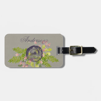 RUSTIC VIOLET YELLOW WILD FLOWERS & FERNS MONOGRAM LUGGAGE TAG