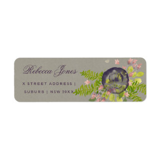 RUSTIC VIOLET YELLOW WILD FLOWERS & FERNS MONOGRAM RETURN ADDRESS LABEL