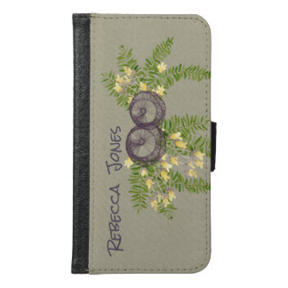 RUSTIC VIOLET YELLOW WILD FLOWERS & FERNS MONOGRAM SAMSUNG GALAXY S6 WALLET CASE