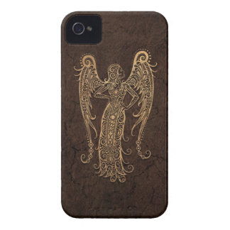 Rustic Virgo Zodiac Sign on Stone Effect iPhone 4 Cases
