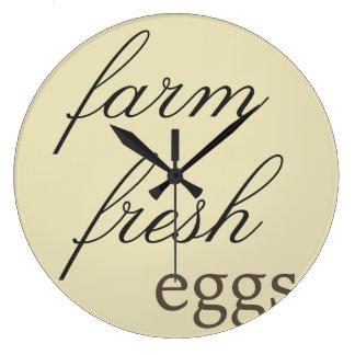 Rustic Wall Clock - Farm Fresh Eggs