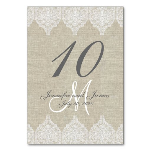 Rustic Warm Lace Wedding Table Cards