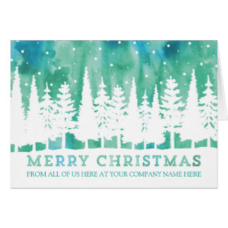 Rustic Watercolor Corporate Merry Christmas Card
