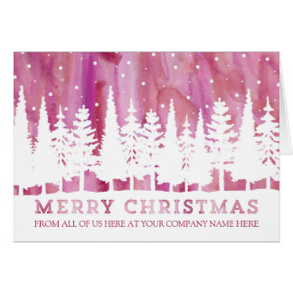 Rustic Watercolor Corporate Merry Christmas Greeting Card