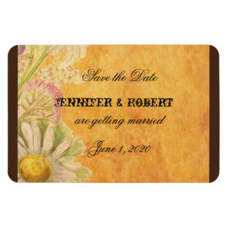 Rustic Watercolor Daisies Wedding Save the Date Rectangular Photo Magnet