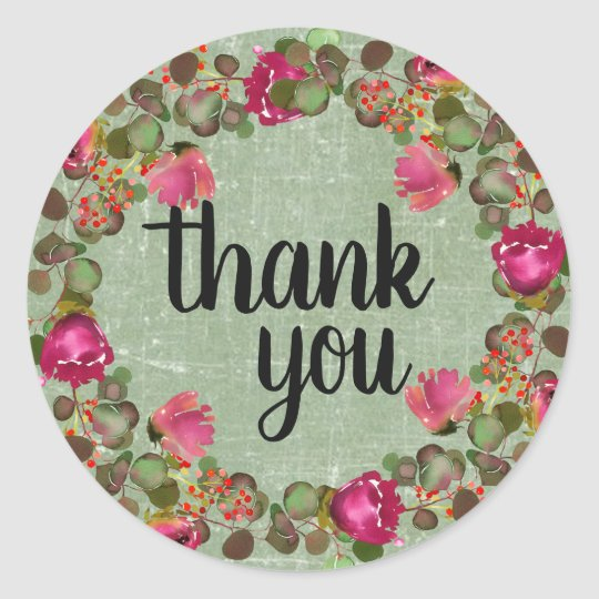 Rustic Watercolor Eucalyptus Floral Thank You Classic Round Sticker