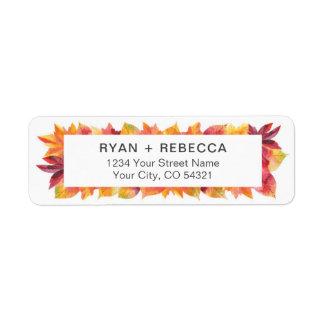 Rustic Watercolor Fall Leaves Return Address Label