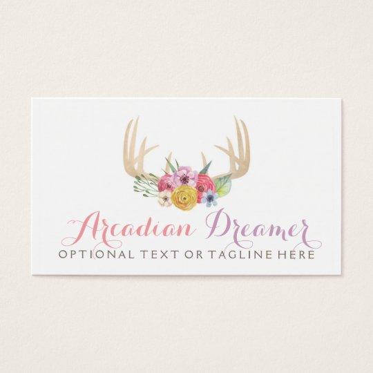 Rustic Watercolor Floral Antler - Arcadian Dreamer Business Card