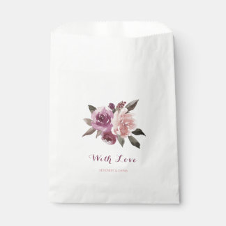 Rustic watercolor floral fall wedding favour bags