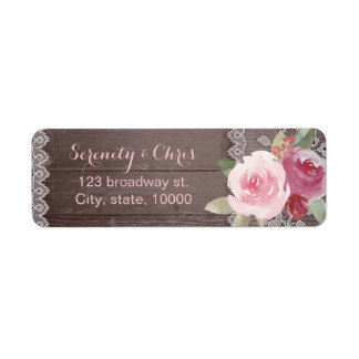 Rustic watercolor floral lace return address
