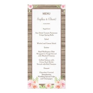 Rustic Watercolor Floral Old Wood Wedding Menu Personalised Rack Card
