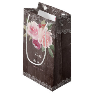 Rustic watercolor floral vintage lace wedding small gift bag