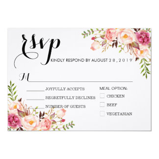 Rustic Watercolor Floral Wedding RSVP/with meal Card