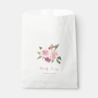Rustic watercolor floral with love wedding favour bags