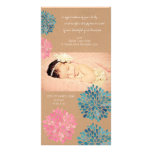 Rustic Watercolor Flowers Baby Girl Thank You Card Photo Greeting Card