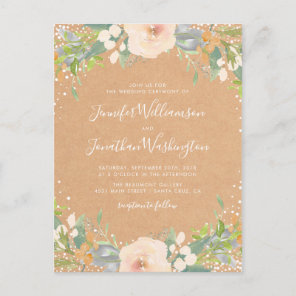 Rustic Watercolor Flowers Wedding Invitation