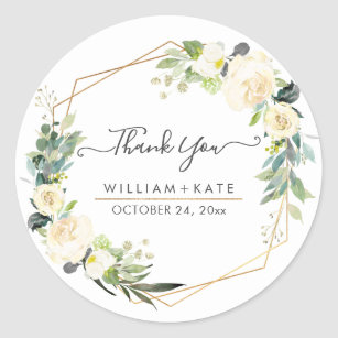 Rustic Watercolor Ivory Cream RosesThank You Classic Round Sticker