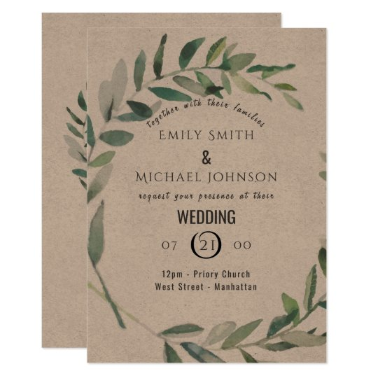 Rustic Watercolor Leaf Kraft Wedding Invitation