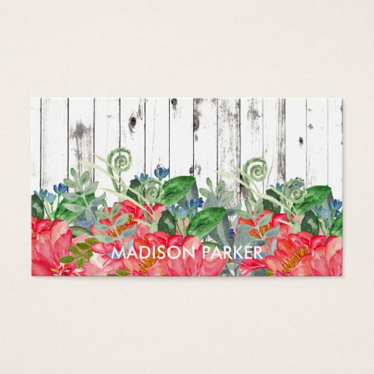 Rustic Watercolor Peonies on Distressed White Wood Business Card