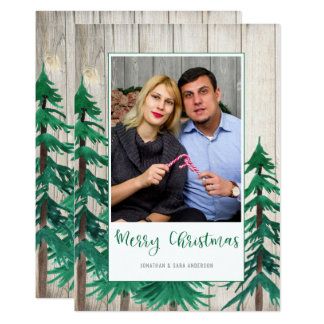 Rustic Watercolor Pine Trees Photo Christmas Card