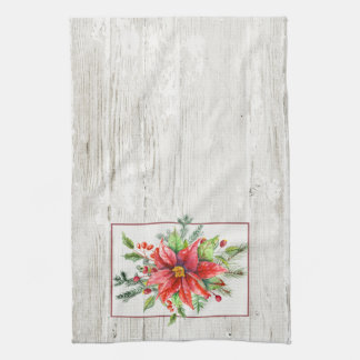 Rustic Watercolor Poinsettias on Whitewashed Wood Hand Towels