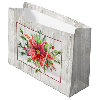 Rustic Watercolor Poinsettias on Whitewashed Wood Large Gift Bag